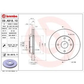 Bremsscheibe Bremsscheibendicke: 24mm, Lochanzahl: 4, Ø: 278mm mit OEM-Nummer 96329364