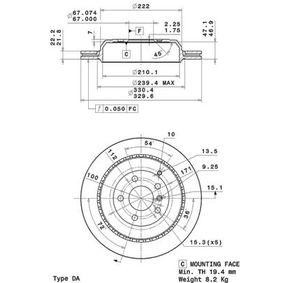 Спирачен диск дебелина на спирачния диск: 22мм, брой на дупките: 5, Ø: 330мм с ОЕМ-номер A1644230612