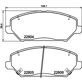 Brake Pad Set, disc brake Width: 149,1mm, Height: 59,4mm, Thickness 1: 19,7mm, Thickness 2: 20,1mm with OEM Number 58101G4A10
