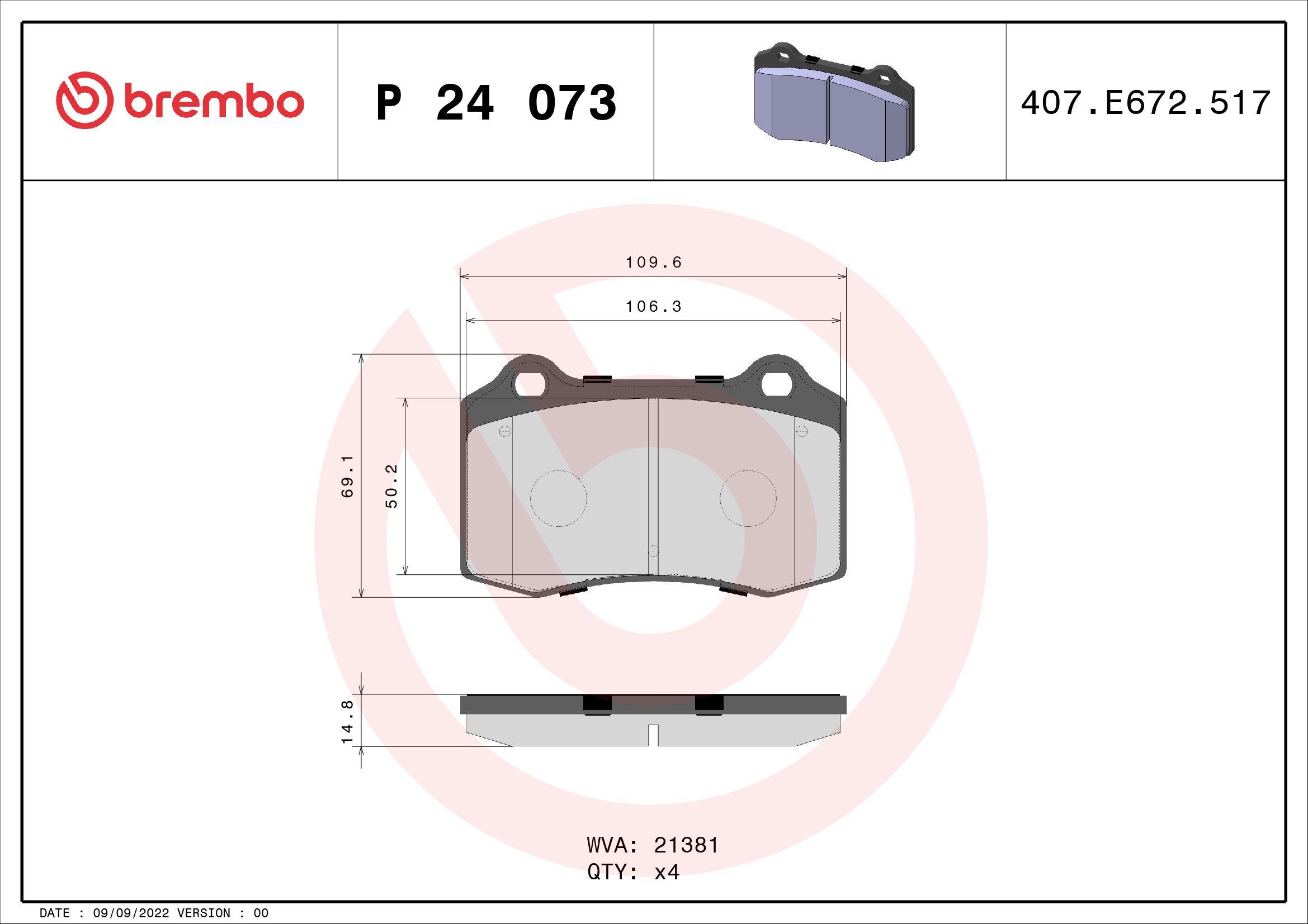 Bremsbeläge P 24 073 BREMBO D5927831 in Original Qualität