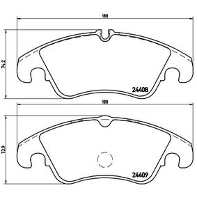 Bremsbelagsatz, Scheibenbremse Breite: 188mm, Höhe 1: 73,9mm, Höhe 2: 74,2mm, Dicke/Stärke: 18,7mm mit OEM-Nummer 1567730