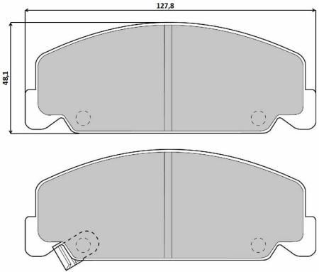 BREMBO  P 28 018 Brake Pad Set, disc brake Width: 127,7mm, Height: 48,3mm, Thickness: 15mm