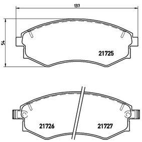 Bremsbelagsatz, Scheibenbremse Breite: 137mm, Höhe: 54mm, Dicke/Stärke: 17mm mit OEM-Nummer 5810129A80