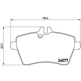 Brake Pad Set, disc brake Width: 116,4mm, Height: 63,7mm, Thickness: 19mm with OEM Number 1694201320