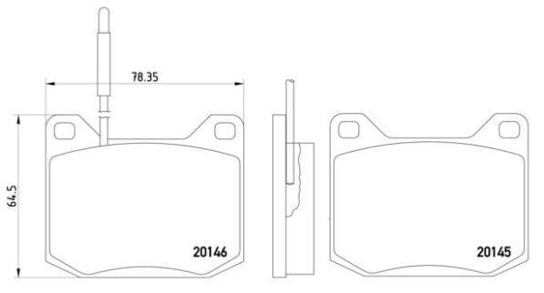 BREMBO  P 61 004 Brake Pad Set, disc brake Width: 78mm, Height: 65mm, Thickness: 17mm