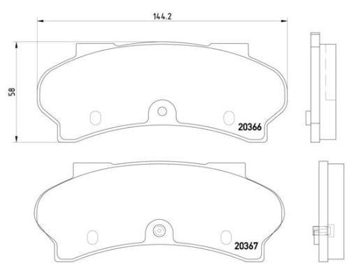 BREMBO  P 61 033 Brake Pad Set, disc brake Width: 144mm, Height: 59mm, Thickness: 18mm