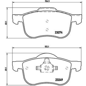 Brake Pad Set, disc brake Width 1: 156,3mm, Width 2 [mm]: 155,1mm, Height: 69,1mm, Thickness: 18,9mm with OEM Number 31 262 503