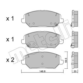 Brake Pad Set, disc brake Thickness 1: 20,0mm with OEM Number 58101G4A10