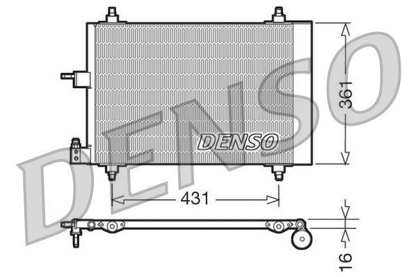 DENSO  DCN07009 Kondensator, Klimaanlage Netzmaße: 568x361x16, Kältemittel: R 134a