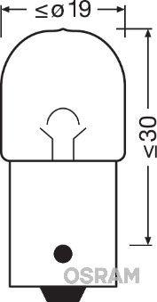 Bulb, licence plate light 5637-02B OSRAM R10W original quality