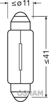 Bulb, licence plate light 6421 OSRAM 6421 original quality
