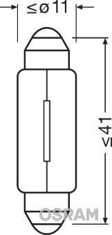 Bulb, licence plate light 6424 OSRAM 6424 original quality