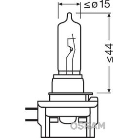 Крушка с нагреваема жичка, фар за дълги светлини H9B, 65ват, 12волт 64243