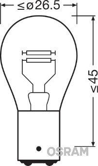 Bulb, brake / tail light 7225-02B OSRAM P214W original quality