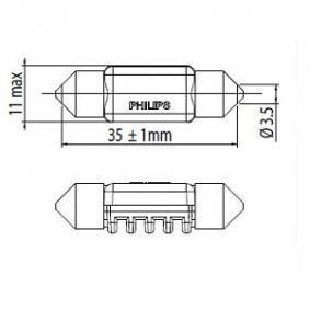 Innenraumbeleuchtung VW PASSAT Variant (3B6) 1.9 TDI 130 PS ab 11.2000 PHILIPS Glühlampe, Innenraumleuchte (12859 6000KX1) für