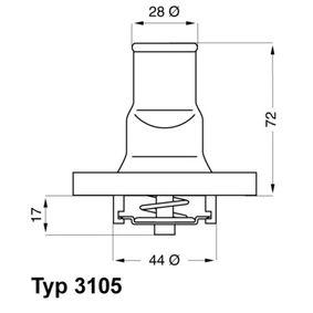 Thermostat, coolant 3105.87D PANDA (169) 1.2 MY 2004