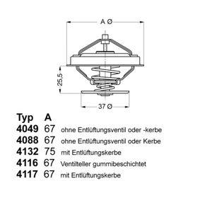 WAHLER Thermostat, Kühlmittel 4116.87D1 für AUDI COUPE (89, 8B) 2.3 quattro ab Baujahr 05.1990, 134 PS