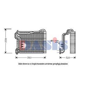 AKS DASIS Verdampfer, Klimaanlage 820500N für AUDI 90 (89, 89Q, 8A, B3) 2.2 E quattro ab Baujahr 04.1987, 136 PS