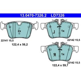 Brake Pad Set, disc brake Width 1: 122,4mm, Width 2 [mm]: 122,4mm, Height 1: 56,2mm, Height 2: 59,7mm, Thickness: 15,5mm with OEM Number LR-123595