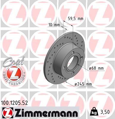 ZIMMERMANN SPORT COAT Z 100.1205.52 Bremsscheibe Bremsscheibendicke: 10mm, Felge: 4-loch, Ø: 245mm