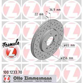 ZIMMERMANN FORMULA Z COAT Z 100.1233.70 Bremsscheibe Ø: 256mm