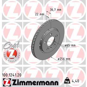 Bremsscheibe Bremsscheibendicke: 22mm, Felge: 5-loch, Ø: 256mm mit OEM-Nummer 8L0.615.601