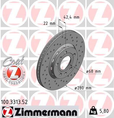 ZIMMERMANN SPORT COAT Z 100.3313.52 Bremsscheibe Bremsscheibendicke: 22mm, Ø: 280mm