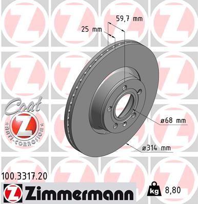 ZIMMERMANN COAT Z 100.3317.20 Bremsscheibe Bremsscheibendicke: 25mm, Lochanzahl: 5, Ø: 314mm