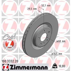 Brake Disc Brake Disc Thickness: 30mm, Rim: 5-Hole, Ø: 345mm with OEM Number 8K0 615 301B