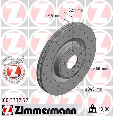 ZIMMERMANN SPORT COAT Z 100.3332.52 Brake Disc Brake Disc Thickness: 30mm, Rim: 5-Hole, Ø: 345mm