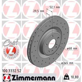 Brake Disc Brake Disc Thickness: 30mm, Rim: 5-Hole, Ø: 345mm with OEM Number 8K0615301K