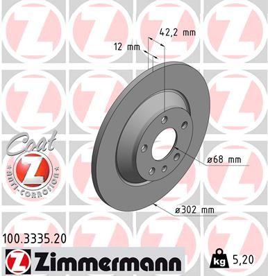 ZIMMERMANN COAT Z 100.3335.20 Bremsscheibe Bremsscheibendicke: 12mm, Lochanzahl: 5, Ø: 302mm