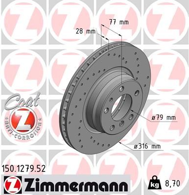 ZIMMERMANN SPORT COAT Z 150.1279.52 Bremsscheibe Bremsscheibendicke: 28mm, Felge: 5-loch, Ø: 316mm