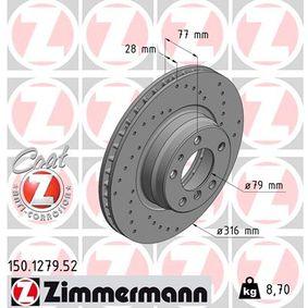Bremsscheibe Bremsscheibendicke: 28mm, Felge: 5-loch, Ø: 316mm mit OEM-Nummer 34116757752
