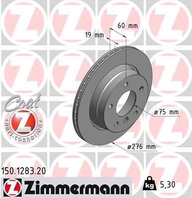 ZIMMERMANN COAT Z 150.1283.20 Bremsscheibe Bremsscheibendicke: 19mm, Felge: 5-loch, Ø: 276mm