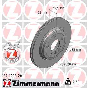 Bremsscheibe Bremsscheibendicke: 22mm, Lochanzahl: 5, Ø: 320mm mit OEM-Nummer 34 20 1 166 073