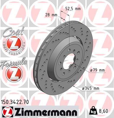 ZIMMERMANN FORMULA Z COAT Z 150.3422.70 Bremsscheibe Bremsscheibendicke: 28mm, Lochanzahl: 5, Ø: 345mm