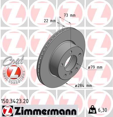 ZIMMERMANN COAT Z 150.3423.20 Bremsscheibe Bremsscheibendicke: 22mm, Lochanzahl: 5, Ø: 284mm