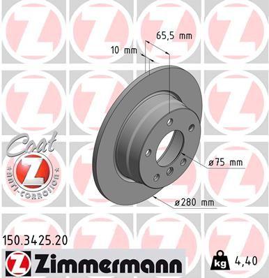 ZIMMERMANN COAT Z 150.3425.20 Bremsscheibe Bremsscheibendicke: 10mm, Lochanzahl: 5, Ø: 280mm