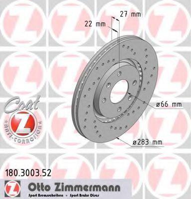 ZIMMERMANN  180.3003.52 Bremsscheibe Ø: 283mm