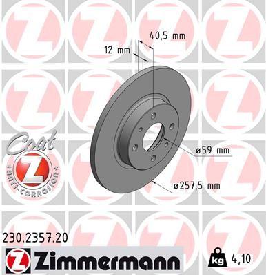 ZIMMERMANN спирачен диск задна ос, предна ос, външен диаметър: 257мм, плътен, с покритие 230.2357.20