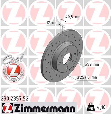 ZIMMERMANN спирачен диск предна ос, външен диаметър: 257мм, плътен, надупчен, с покритие 230.2357.52