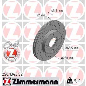 Brake Disc Brake Disc Thickness: 22mm, Rim: 4-Hole, Ø: 258mm with OEM Number 98AX-1125B-1F