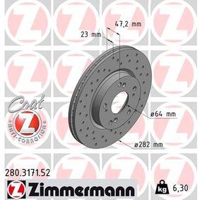 Disco de freno 280.3171.52 CIVIC 8 Hatchback (FN, FK) 2.2 CTDi (FK3) ac 2020