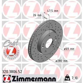 Bremsscheibe Bremsscheibendicke: 26mm, Felge: 5-loch, Ø: 280mm mit OEM-Nummer 51712-3K000