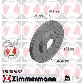 Brake Disc Brake Disc Thickness: 25mm, Rim: 5-Hole, Ø: 278mm with OEM Number C24Y 33 25XC 9A
