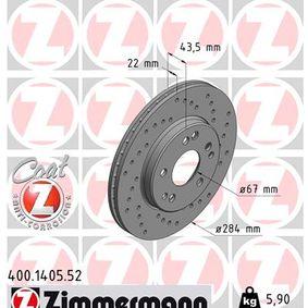 Bremsscheibe Bremsscheibendicke: 22mm, Lochanzahl: 5, Ø: 284mm mit OEM-Nummer 124 421 1612