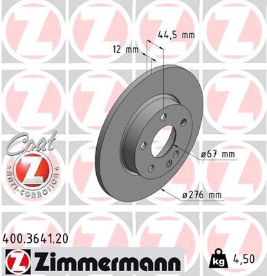 ZIMMERMANN COAT Z 400.3641.20 Bremsscheibe Bremsscheibendicke: 12mm, Lochanzahl: 5, Ø: 276mm