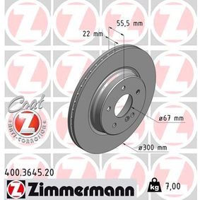 Bremsscheibe Bremsscheibendicke: 22mm, Lochanzahl: 5, Ø: 300mm mit OEM-Nummer 210 423 0812