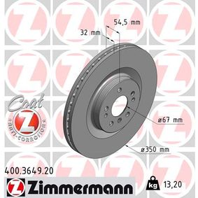 ZIMMERMANN COAT Z 400.3649.20 Спирачен диск Ø: 350мм